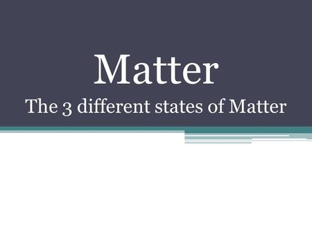 Matter The 3 different states of Matter