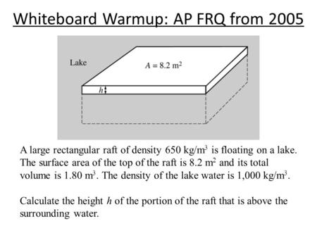 Whiteboard Warmup: AP FRQ from 2005