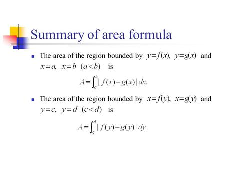 Summary of area formula The area of the region bounded by and is The area of the region bounded by and is.