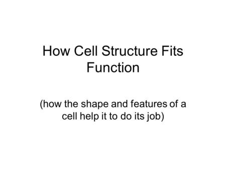 How Cell Structure Fits Function