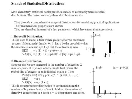 Standard Statistical Distributions Most elementary statistical books provide a survey of commonly used statistical distributions. The reason we study these.
