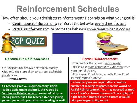 Reinforcement Schedules How often should you administer reinforcement? Depends on what your goal is! –Continuous reinforcement: reinforce the behavior.