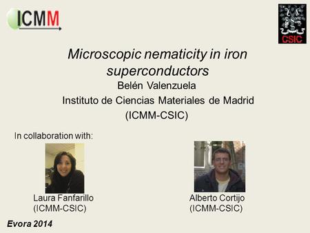 Microscopic nematicity in iron superconductors Belén Valenzuela Instituto de Ciencias Materiales de Madrid (ICMM-CSIC) In collaboration with: Laura Fanfarillo.