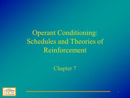 Operant Conditioning: Schedules and Theories of Reinforcement