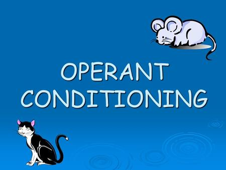 OPERANT CONDITIONING.  Many of the behaviours in animals and humans cannot be explained in terms of classical conditioning.  Many complex behaviours.