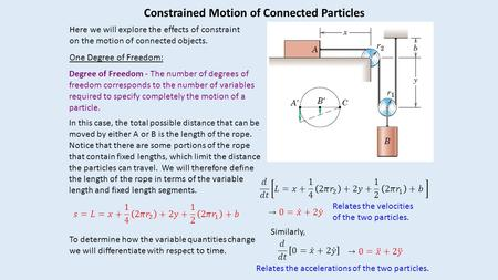 Constrained Motion of Connected Particles Here we will explore the effects of constraint on the motion of connected objects. One Degree of Freedom: Degree.