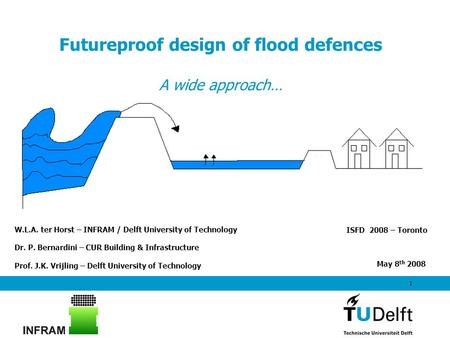1 Futureproof design of flood defences A wide approach… ISFD 2008 – Toronto W.L.A. ter Horst – INFRAM / Delft University of Technology Dr. P. Bernardini.