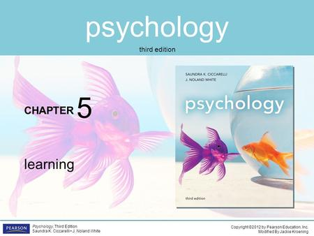 Psychology CHAPTER Copyright ©2012 by Pearson Education, Inc. Modified By Jackie Kroening Psychology, Third Edition Saundra K. Ciccarelli J. Noland White.