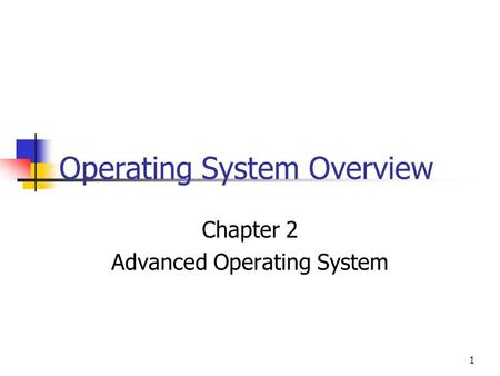 1 Operating System Overview Chapter 2 Advanced Operating System.