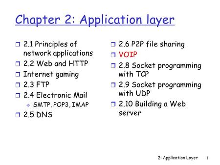 2: Application Layer 1 Chapter 2: Application layer r 2.1 Principles of network applications r 2.2 Web and HTTP r Internet gaming r 2.3 FTP r 2.4 Electronic.