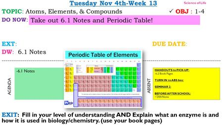 Tuesday Nov 4th-Week 13 TOPIC : Atoms, Elements, & Compounds  OBJ : 1-4 DO NOW : EXT : DUE DATE : DW : 6.1 Notes -----------------------------------------------------------------------------------------------------------------