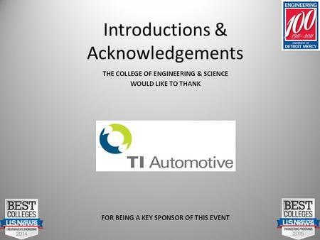 Introductions & Acknowledgements. Center for Automotive Systems Engineering Education CASEE.