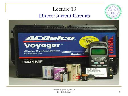 Lecture 13 Direct Current Circuits