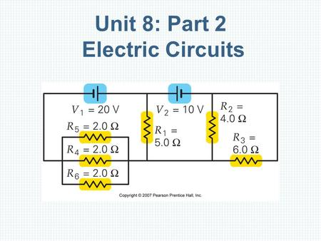 Unit 8: Part 2 Electric Circuits. Outline Resistances in Series, Parallel, and Series– Parallel Combinations Multiloop Circuits and Kirchhoff's Rules.