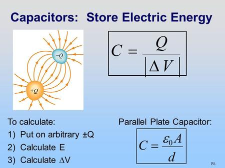 C  0 AdC  0 Ad C Q VC Q V Capacitors:Store Electric Energy To calculate: 1)Put on arbitrary ±Q 2)Calculate E 3)Calculate  V Parallel Plate Capacitor: