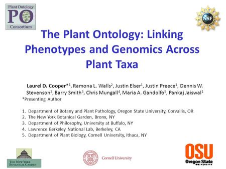The Plant Ontology: Linking Phenotypes and Genomics Across Plant Taxa Laurel D. Cooper* 1, Ramona L. Walls 2, Justin Elser 1, Justin Preece 1, Dennis W.