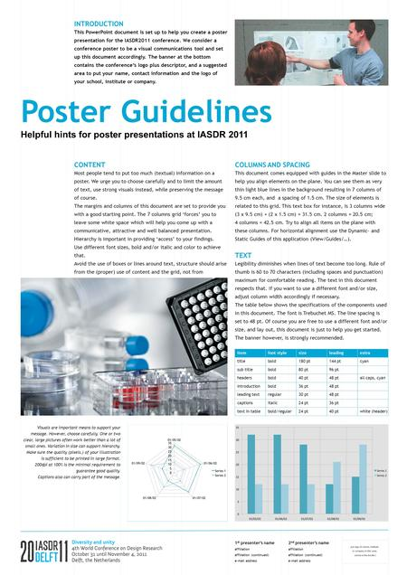 Poster Guidelines Helpful hints for poster presentations at IASDR 2011 INTRODUCTION This PowerPoint document is set up to help you create a poster presentation.