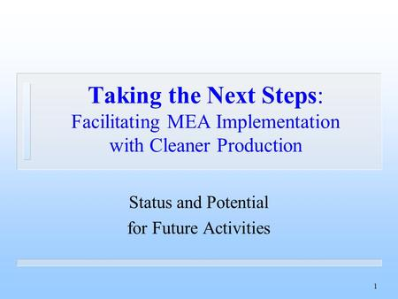 1 Taking the Next Steps: Facilitating MEA Implementation with Cleaner Production Status and Potential for Future Activities.
