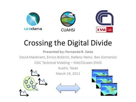 Crossing the Digital Divide Presented by: Fernando R. Salas David Maidment, Enrico Boldrini, Stefano Nativi, Ben Domenico OGC Technical Meeting – Met/Occean.