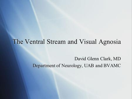 The Ventral Stream and Visual Agnosia David Glenn Clark, MD Department of Neurology, UAB and BVAMC David Glenn Clark, MD Department of Neurology, UAB and.