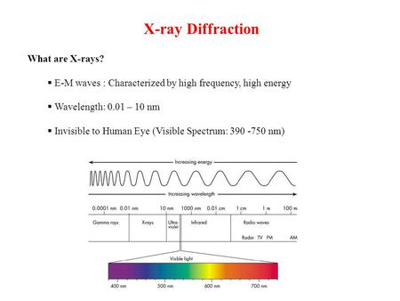 X-ray Diffraction What are X-rays?  E-M waves : Characterized by high frequency, high energy  Wavelength: 0.01 – 10 nm  Invisible to Human Eye (Visible.