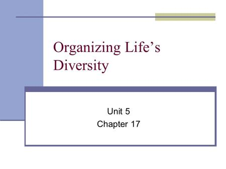 Organizing Life's Diversity Unit 5 Chapter 17 What is classification? the grouping of objects or information based on similarities This helps biologists.