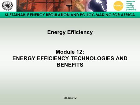 SUSTAINABLE ENERGY REGULATION AND POLICY-MAKING FOR AFRICA Module 12 Energy Efficiency Module 12: ENERGY EFFICIENCY TECHNOLOGIES AND BENEFITS.