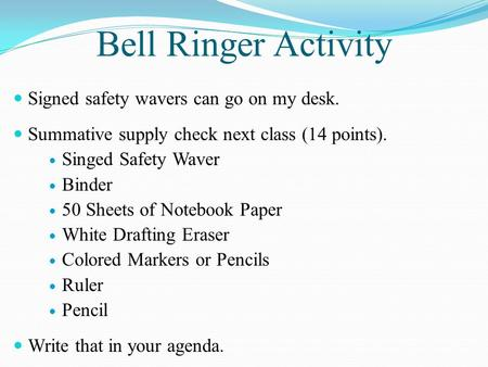 Bell Ringer Activity Signed safety wavers can go on my desk. Summative supply check next class (14 points). Singed Safety Waver Binder 50 Sheets of Notebook.