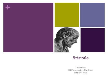 + Aristotle Kelly Ross HN Philosophy – Mr. Dunn May 2 nd, 2011.