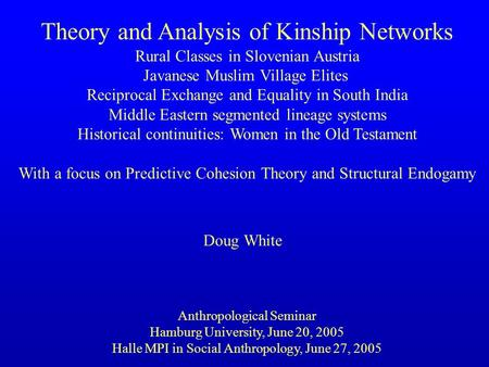 <strong>Theory</strong> <strong>and</strong> <strong>Analysis</strong> of Kinship <strong>Networks</strong> Rural Classes in Slovenian Austria Javanese Muslim Village Elites Reciprocal Exchange <strong>and</strong> Equality in South India.