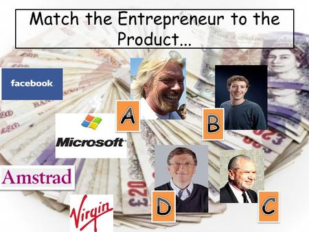 Match the Entrepreneur to the Product.... How can an idea make money? Lesson objectives To develop team work and effective participation To promote the.