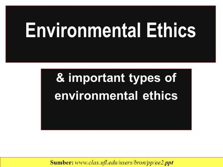& important types of environmental ethics