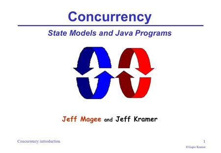 Concurrency: introduction1 ©Magee/Kramer Concurrency State Models and Java Programs Jeff Magee and Jeff Kramer.