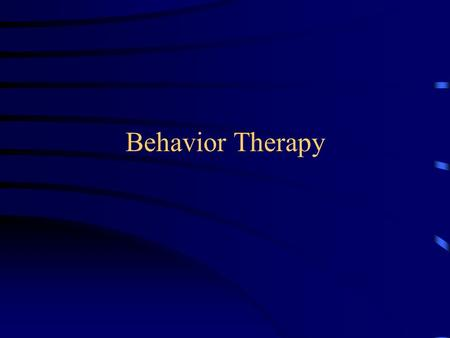 Behavior Therapy.