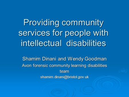 Providing community services for people with intellectual disabilities