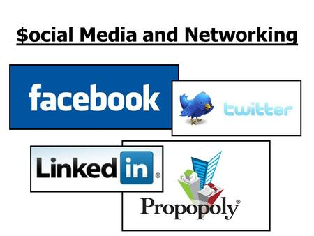 $ocial Media and Networking. Social Networking (social media and social marketing) Allows people to link to others online to share opinions, insights,