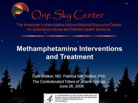 1 The American Indian/Alaska Native National Resource Center for Substance Abuse and Mental Health Services Methamphetamine Interventions and Treatment.