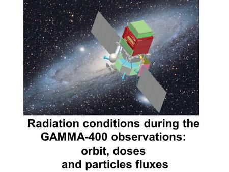 Radiation conditions during the GAMMA-400 observations: