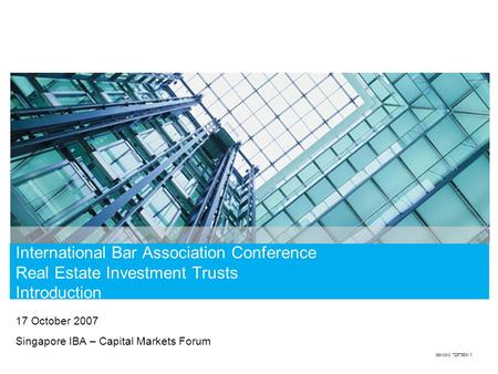 International Bar Association Conference Real Estate Investment Trusts Introduction 17 October 2007 Singapore IBA – Capital Markets Forum tdo-corp 7257363v.1.