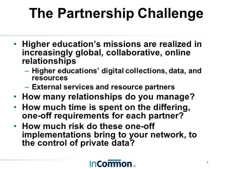 1 The Partnership Challenge Higher education's missions are realized in increasingly global, collaborative, online relationships –Higher educations' digital.