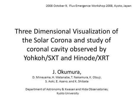 Three Dimensional Visualization of the Solar Corona and study of coronal cavity observed by Yohkoh/SXT and Hinode/XRT J. Okumura, D. Mineyama, H. Watanabe,