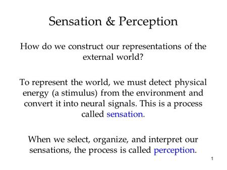 1 Sensation & Perception How do we construct our representations of the external world? To represent the world, we must detect physical energy (a stimulus)