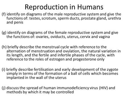 Reproduction in Humans (f) identify on diagrams of the male reproductive system and give the functions of: testes, scrotum, sperm ducts, prostate gland,