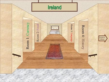 Museum Entrance Room 1: Currency Room 2: Food Room 4: History Room 3: LanguageIreland Curator's Offices Thank You!!!