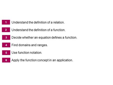 Introduction to Functions Understand the definition of a relation. Understand the definition of a function. Decide whether an equation defines a function.