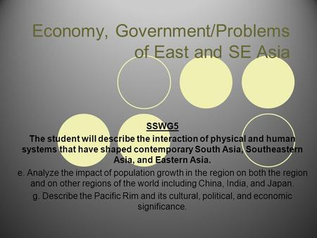 Economy, Government/Problems of East and SE Asia SSWG5 The student will describe the interaction of physical and human systems that have shaped contemporary.