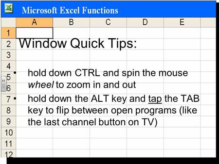 Window Quick Tips: hold down CTRL and spin the mouse wheel to zoom in and out hold down the ALT key and tap the TAB key to flip between open programs (like.