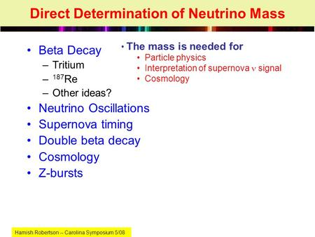 Direct Determination of Neutrino Mass Beta Decay –Tritium – 187 Re –Other ideas? Neutrino Oscillations Supernova timing Double beta decay Cosmology Z-bursts.