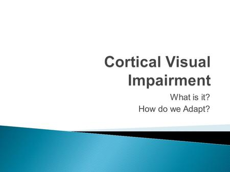 What is it? How do we Adapt?.  According to the American Printing House, aph.org, the definition for medical purposes: Cortical visual impairment (CVI)