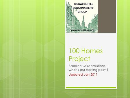 100 Homes Project Baseline CO2 emissions – what's our starting point? Updated Jan 2011.